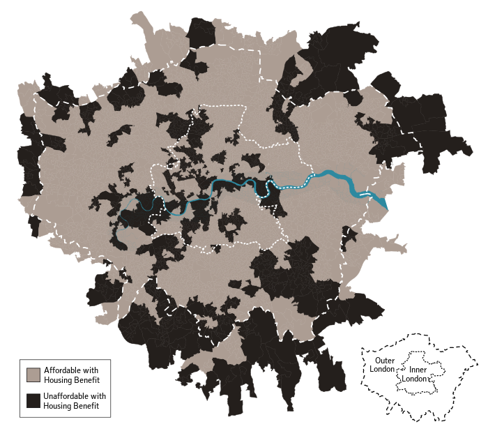 Affordability of London neighbourhoods with Housing Benefit in 2010
