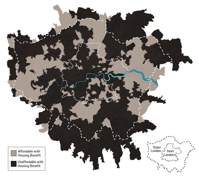 Affordability of London neighbourhoods with Housing Benefit in 2016