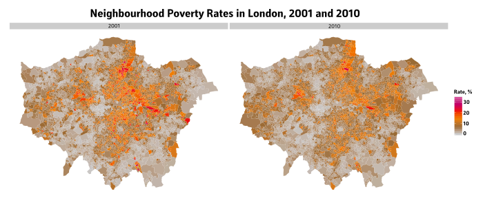 Neighbourhood-level Poverty Map London, 2001 and 2010